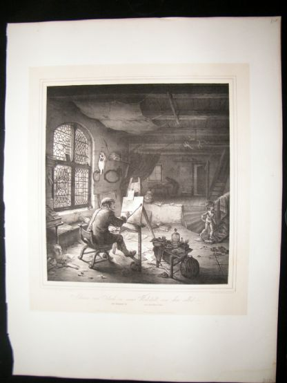 After Adrian van Ostade C1840 LG Folio Print. The Painter in his Workshop | Albion Prints